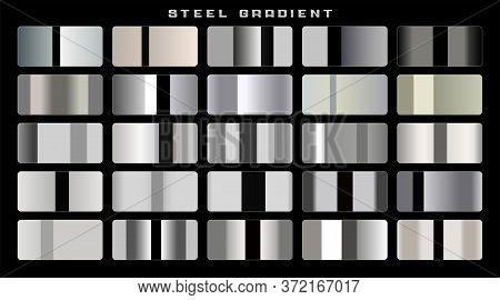 Shiny Stainless Steel Or Aluminium Gradients Big Set Design Vector Illustration