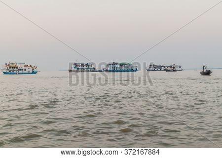 Pasur, Bangladesh - November 13, 2016: Tour Boats On Pasur River, Bangladesh
