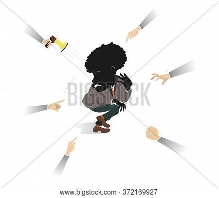 Confused And Upset African Man Surrounded By Hands Illustration. Shy And Upset African Man Surrounde
