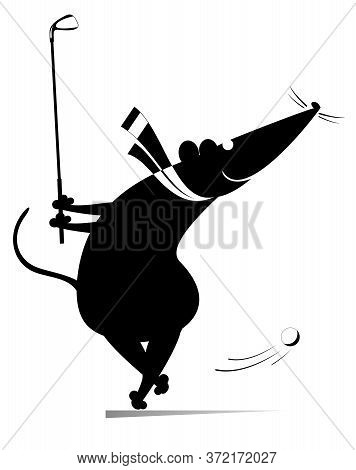 Cartoon Rat Or Mouse Plays Golf Illustration. Funny Rat Or Mouse Tries To Do A Good Kick Black On Wh