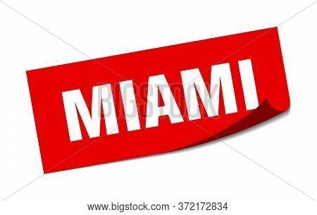 Miami Sticker. Miami Red Square Peeler Sign