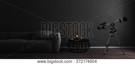 Telescope Near Window In Stylish Dark Luxury Room Interior Background With Fray Sofa, Mock Up, Astro
