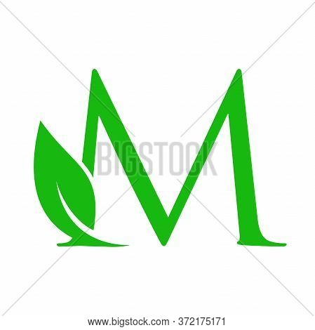 Simple Clean And Charming Logo Design Initial M Combining With Leaf.