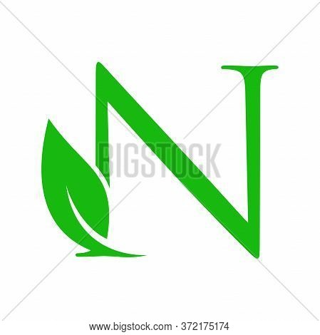 Simple Clean And Charming Logo Design Initial N Combining With Leaf.