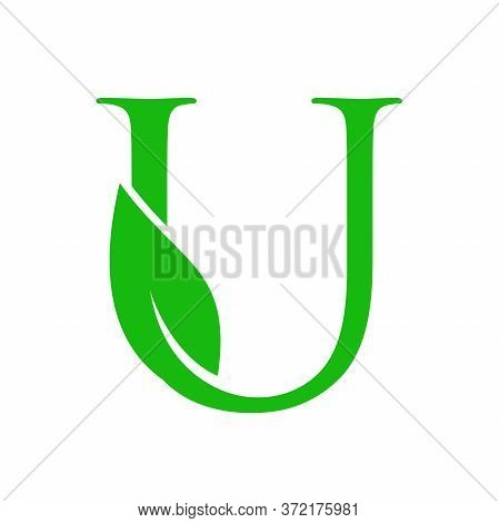 Simple Clean And Charming Logo Design Initial U Combining With Leaf.