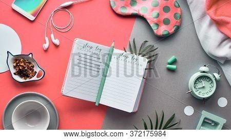 Open Sleep Log Or Sleeping Diary Book. Healthy Night Sleep Creative Concept. Sleeping Mask, Alarm Cl