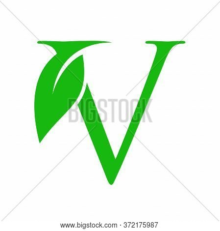 Simple Clean And Charming Logo Design Initial V Combining With Leaf.