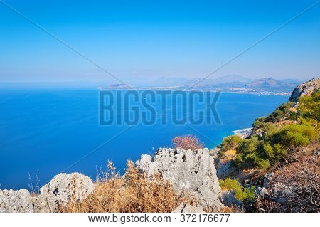 Romantic Island Of Sicily, Wonderful View Of Seaside From High Up, Aerial View Of Blue Mediterranean