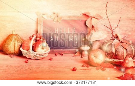 Autumn Traditional Decorations, Panoramic Toned Image. Hello Autumn On Blackboard. Fall Wreath With