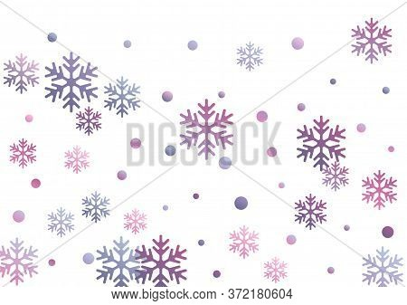 Crystal Snowflake And Circle Elements Vector Illustration. Windy Winter Snow Confetti Scatter Banner