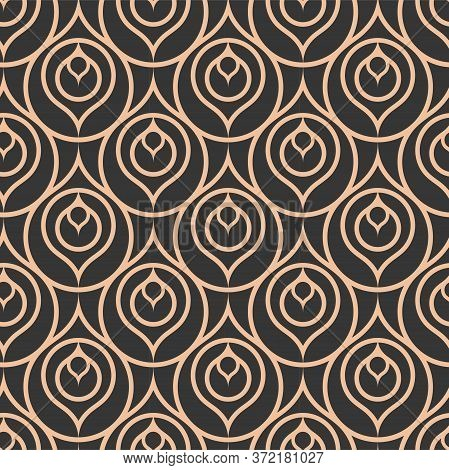 Golden Simple Graphic Artdeco Shapes Texture. Repetitive Ornate Vector 1930s Texture Pattern. Dark L