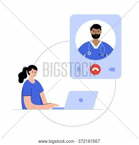 Pharmacist Or Doctor Consults A Happy Girl By Videocall On A Laptop. Flat Vector Illustration. Medic