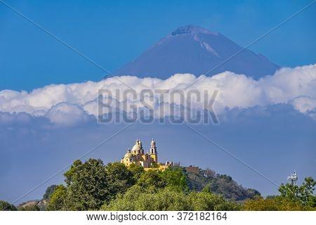 Colorful Yellow Iglesia De Nuestra Senora De Los Remedios Our Lady Of Remedies Church Volcano Mt, Po