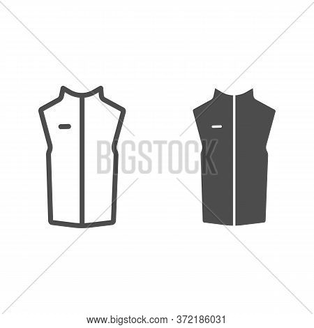 Sport Vest Line And Solid Icon, Outdoor Clothing Concept, Sleeveless Jacket Sign On White Background