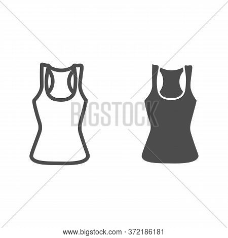 Tank Shirt Line And Solid Icon, Summer Clothes Concept, Sporty Summer Top Sign On White Background,