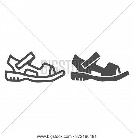 Sandals Line And Solid Icon, Summer Shoes Concept, Sandal Sign On White Background, Light Summer Sho