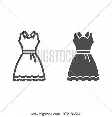 Sundress Line And Solid Icon, Summer Clothes Concept, Evening Dress Sign On White Background, Elegan