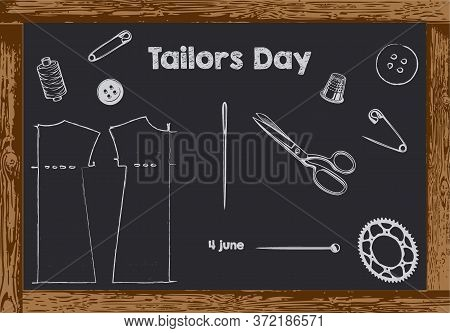 Chalk Board With Wooden Frame For Date Tailors Day