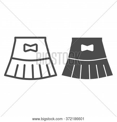 Miniskirt Line And Solid Icon, Summer Clothes Concept, Girl Mini Skirt Sign On White Background, Sho