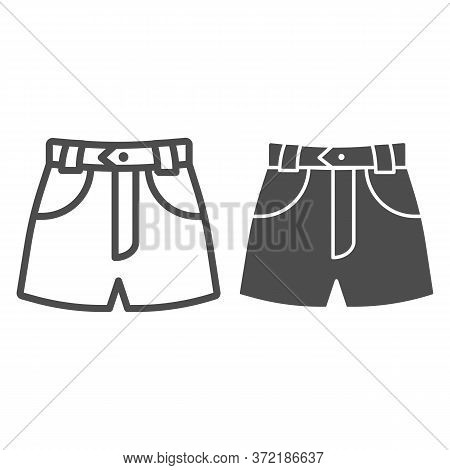 Denim Shorts Line And Solid Icon, Summer Clothes Concept, Shorts Sign On White Background, Jeans Fem