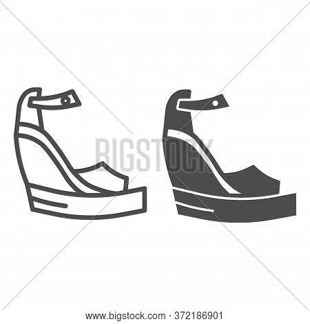 Platform Shoes Line And Solid Icon, Summer Concept, Women Fashionable Sandal On High Platform Sign O