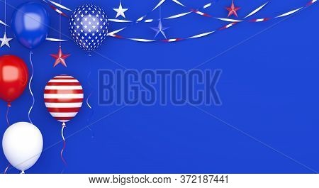 Happy 4th Of July. Happy Independence Day Of Usa. Greeting Card, Banner, Template, Flyer, Layout, Ba
