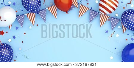 4th Of July, Happy Independence Day Of The Usa Greeting Card, Banner, Template, Flyer, Layout, Ballo