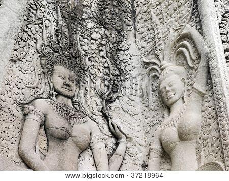Details Of Dancing Apsara At Angkor Wat