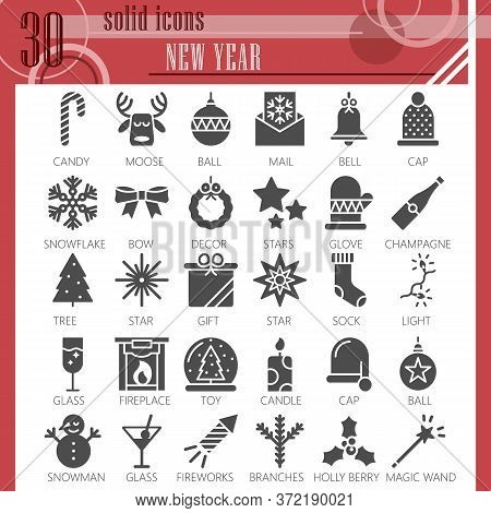 New Year Solid Icon Set, Christmas Symbols Collection Or Sketches. Party And Celebration Glyph Style