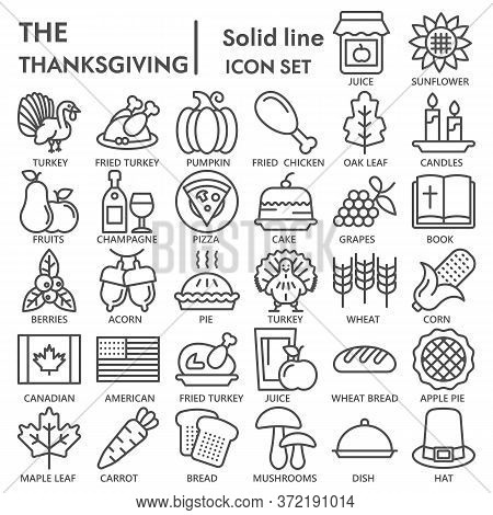 Thanksgiving Day Line Icon Set, National Holiday Celebration Symbols Collection Or Sketches. Happy T