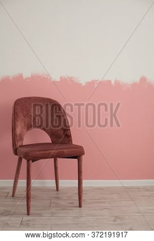 One Chair, Ackground Image.pink Wall In The Background