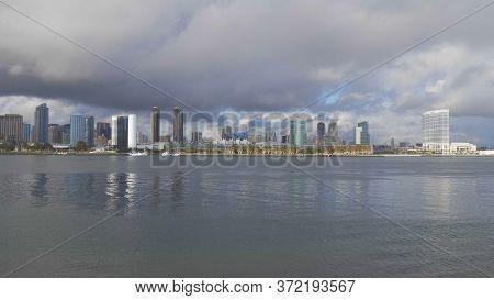 Skyline Of San Diego Wide Angle View - San Diego, Usa - March 18, 2019