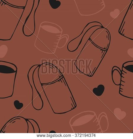 Hand-drawn Vector Seamless Pattern, Thermos And Mug On Warm Brown Background