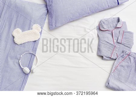 Striped Pajamas, Comfortable Cotton Suit For Sleeping, Mask For Sleeping On Bed. Headphones With Cal