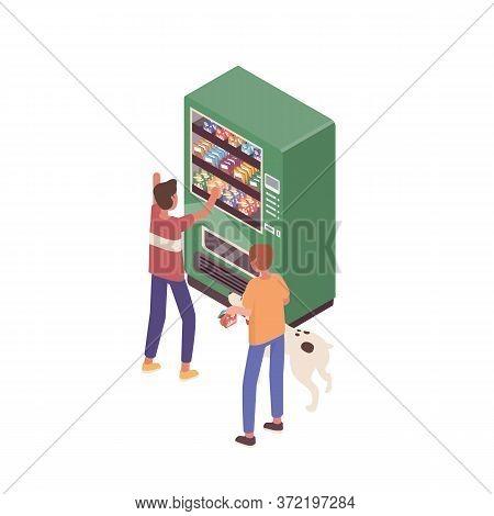 Kids With Dog Buying Snacks At Vending Machine Vector Isometric Illustration. Children Choosing Junk