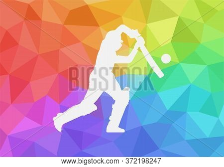 Cricket Player Icon With Colorful Background. Cricket Player Logo Geometric Vector For Web Design Is