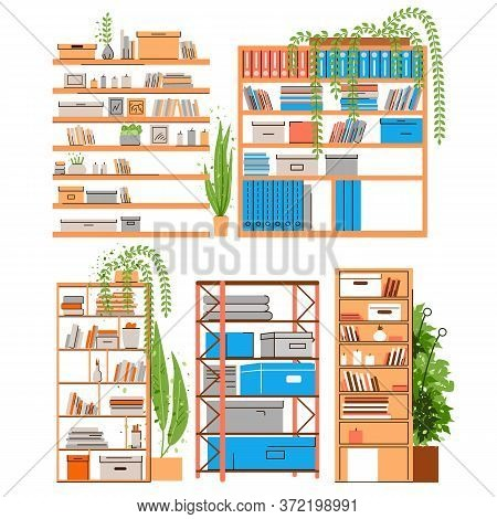 House And Office Bookshelf, Bookcase, Bookrack Or Stand With Boooks, Accessories, Office Paper And F