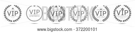 Golden Vip Laurel Wreath Set. Royal Badge Set, Luxury Icons