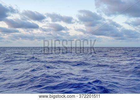 Blue Morning Over The Deep Sea Summer. Blue Sunrise Over Mediterranean Deep Sea.