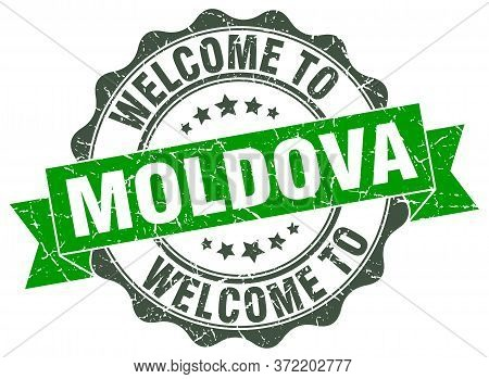 Welcome To Moldova. Stamp. Round Ribbon Seal