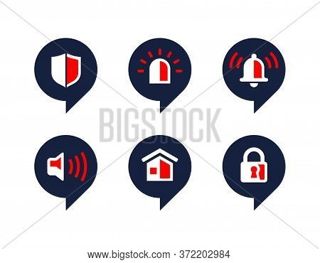 Security Icons In Pin Form - Set Of Safety And Protection Symbols - Shield, Alarm Light, Alarm Bell,