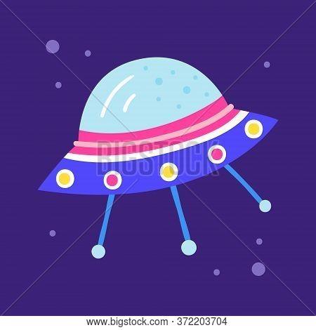 Alien Spaceship, Satellite. Cosmos Vector Hand Drawn Flat Illustration, Element, Sticker, Icon. Isol