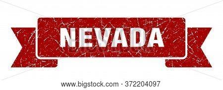 Nevada Ribbon. Red Nevada Grunge Band Sign
