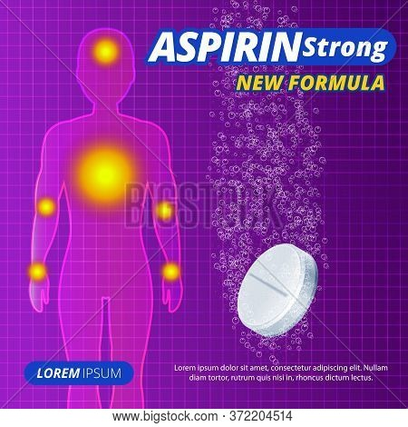 Water-soluble Pill Or Drug Ads, Painkillers, Aspirin Strong Tablets Label. Human Silhouette With Pai