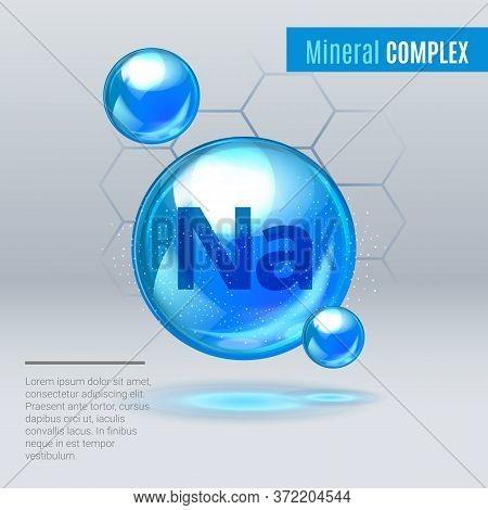 Mineral Na Natrium Blue Shining Pill Capcule Icon . Mineral Vitamin Complex With Chemical Formula .