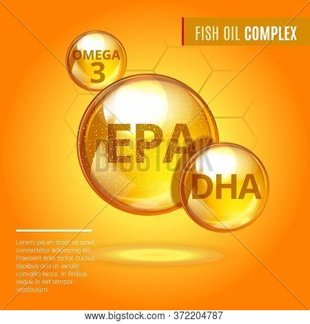 Fish Oil Ads Template, Vitamin Omega-3 Fatty Acids Epa, Dha Gold Shining Pill Capsule Icon. Chemical