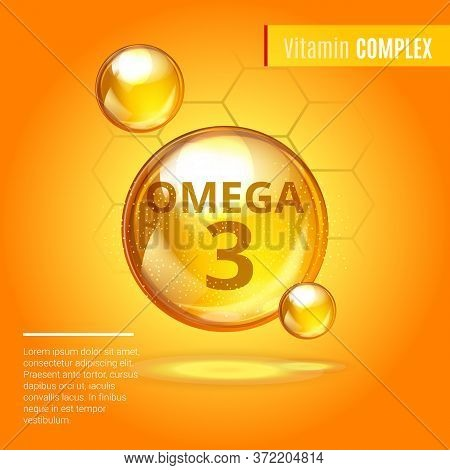Vitamin Omega-3 Fatty Acids Gold Shining Pill Capsule Icon . Vitamin Complex With Chemical Formula D