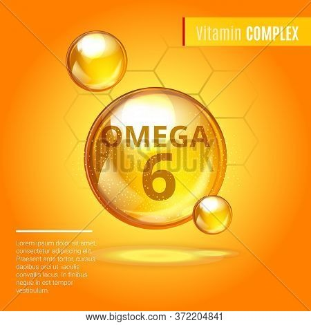 Vitamin Omega-6 Fatty Acids Gold Shining Pill Capsule Icon . Vitamin Complex With Chemical Formula D