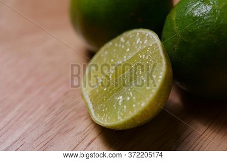 Close-up Of Lime On A Wooden Table
