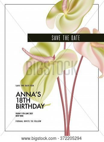 Watercolor Anthurium Wedding Flower Save The Date Invitation, Greeting Card. Botanical Flower Vector